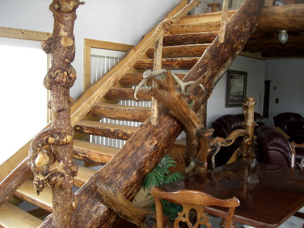 Half Log Stairs In A Rustic Addition.